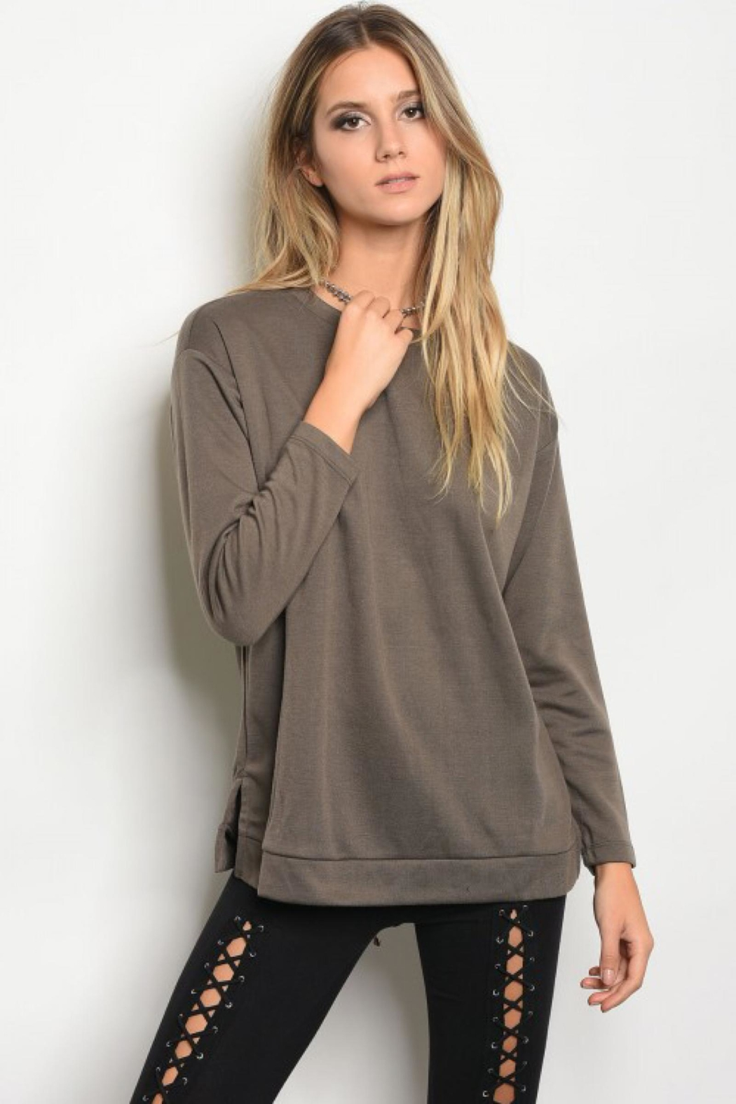 People Outfitter Mocha Lace-Up Sweatshirt - Front Full Image