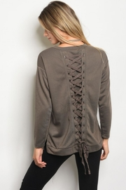 People Outfitter Mocha Lace-Up Sweatshirt - Product Mini Image