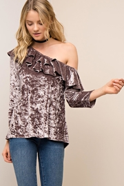 People Outfitter Mocha Ruffle Crushed Velvet Top - Product Mini Image