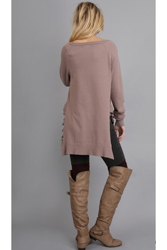 People Outfitter Mocha Ruffled Tunic Sweater - Alternate List Image