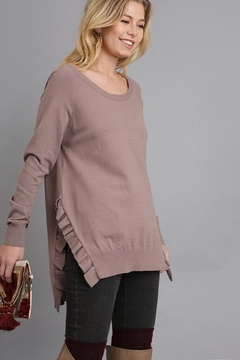 People Outfitter Mocha Ruffled Tunic Sweater - Product List Image