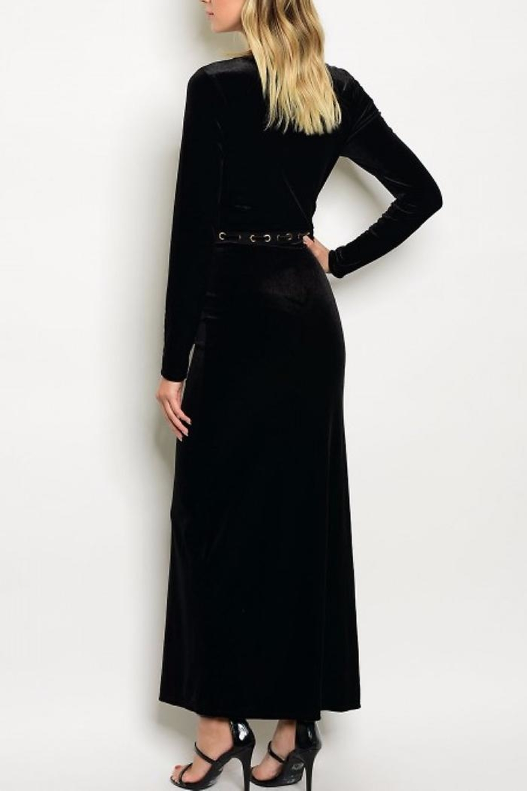 People Outfitter Naomi Velvet Dress - Front Full Image