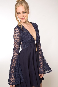 People Outfitter Navy Blue Lace Mini Dress - Product List Image