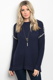 People Outfitter Navy Blue Open Back Sweater - Product Mini Image