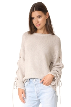 People Outfitter Oatmeal Lace Up Sweater - Product List Image