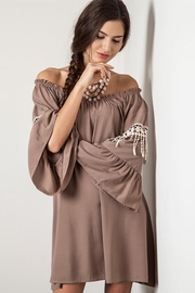People Outfitter Off -Shoulder Beige Dress - Product Mini Image