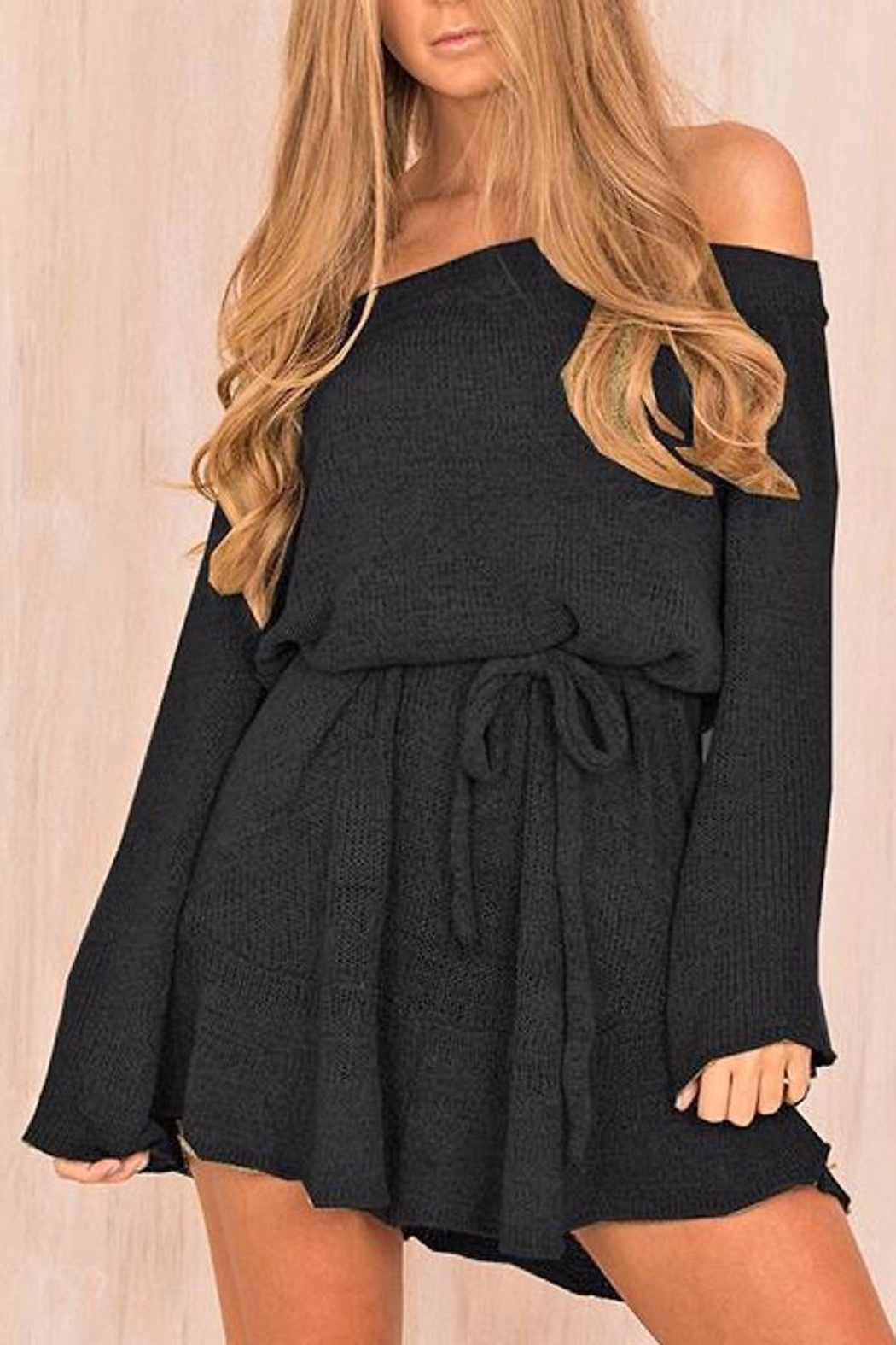 People Outfitter Off-Shoulder Knit Dress - Main Image