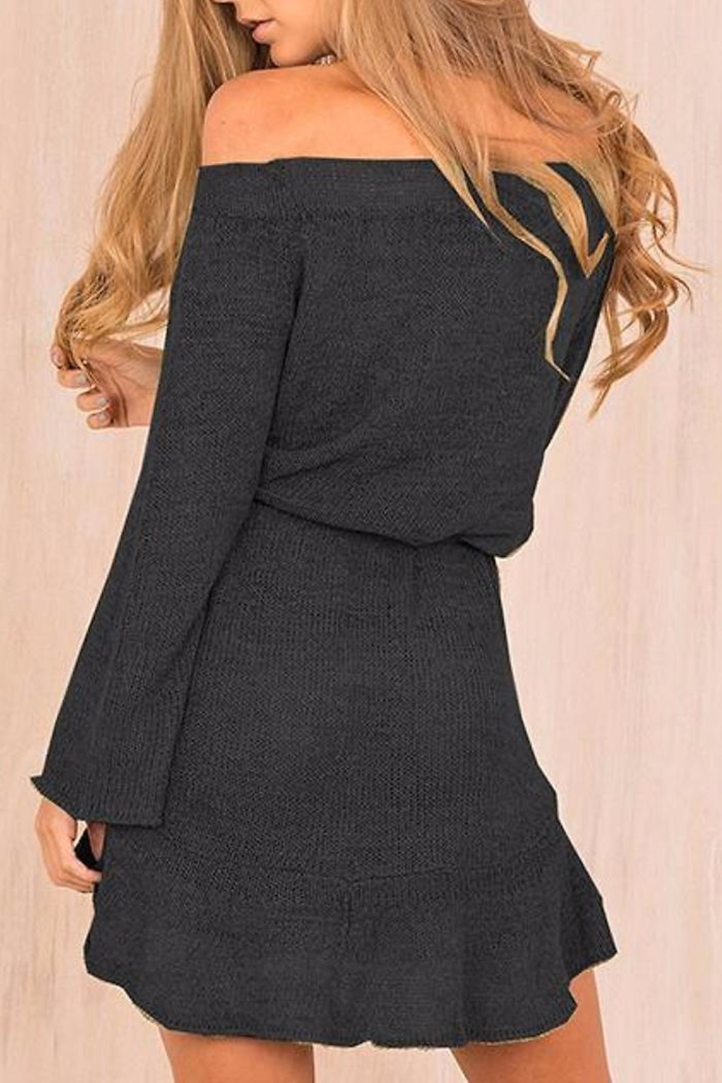 People Outfitter Off-Shoulder Knit Dress - Front Full Image