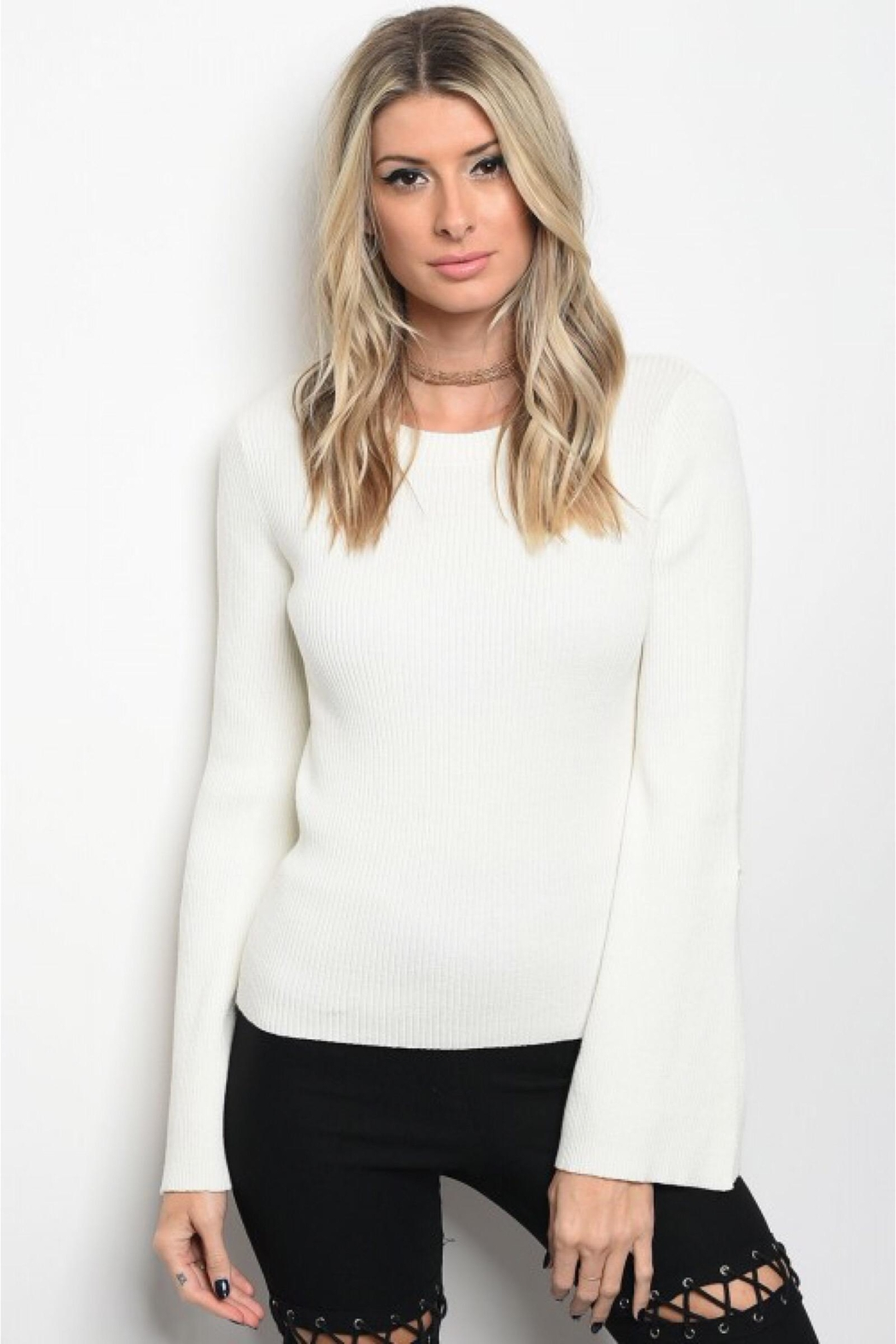 People Outfitter Off-White Bell Sleeves Sweater - Front Full Image