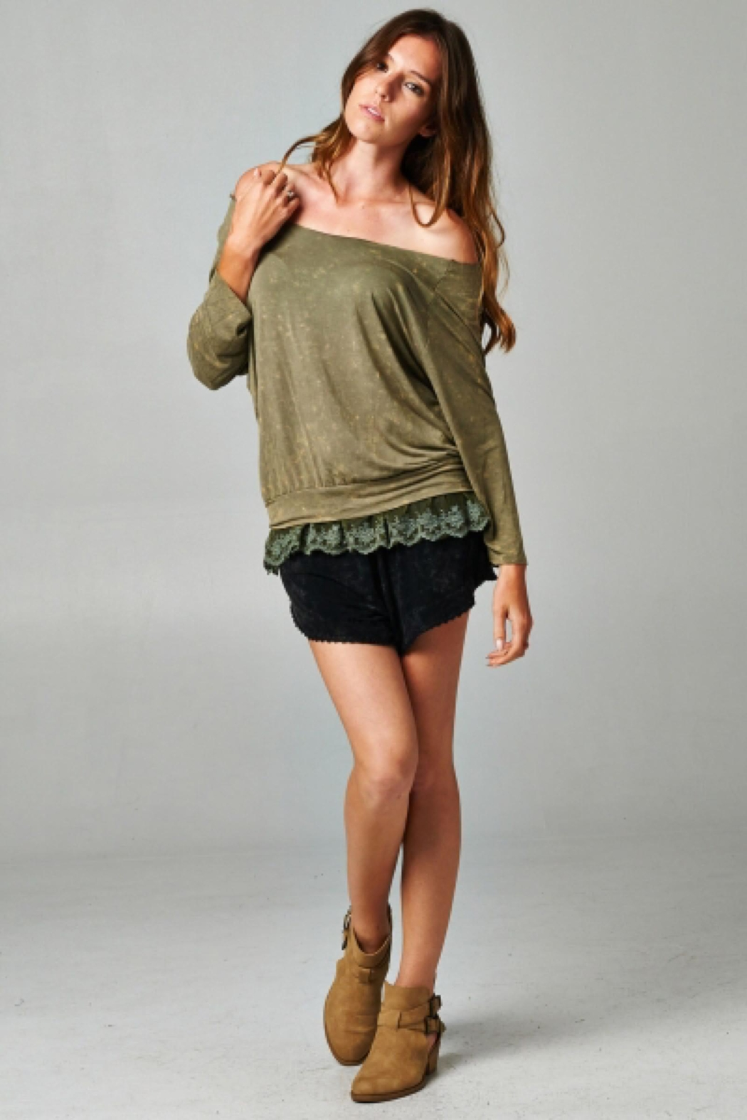 People Outfitter Olive Green Layered Look Top - Side Cropped Image