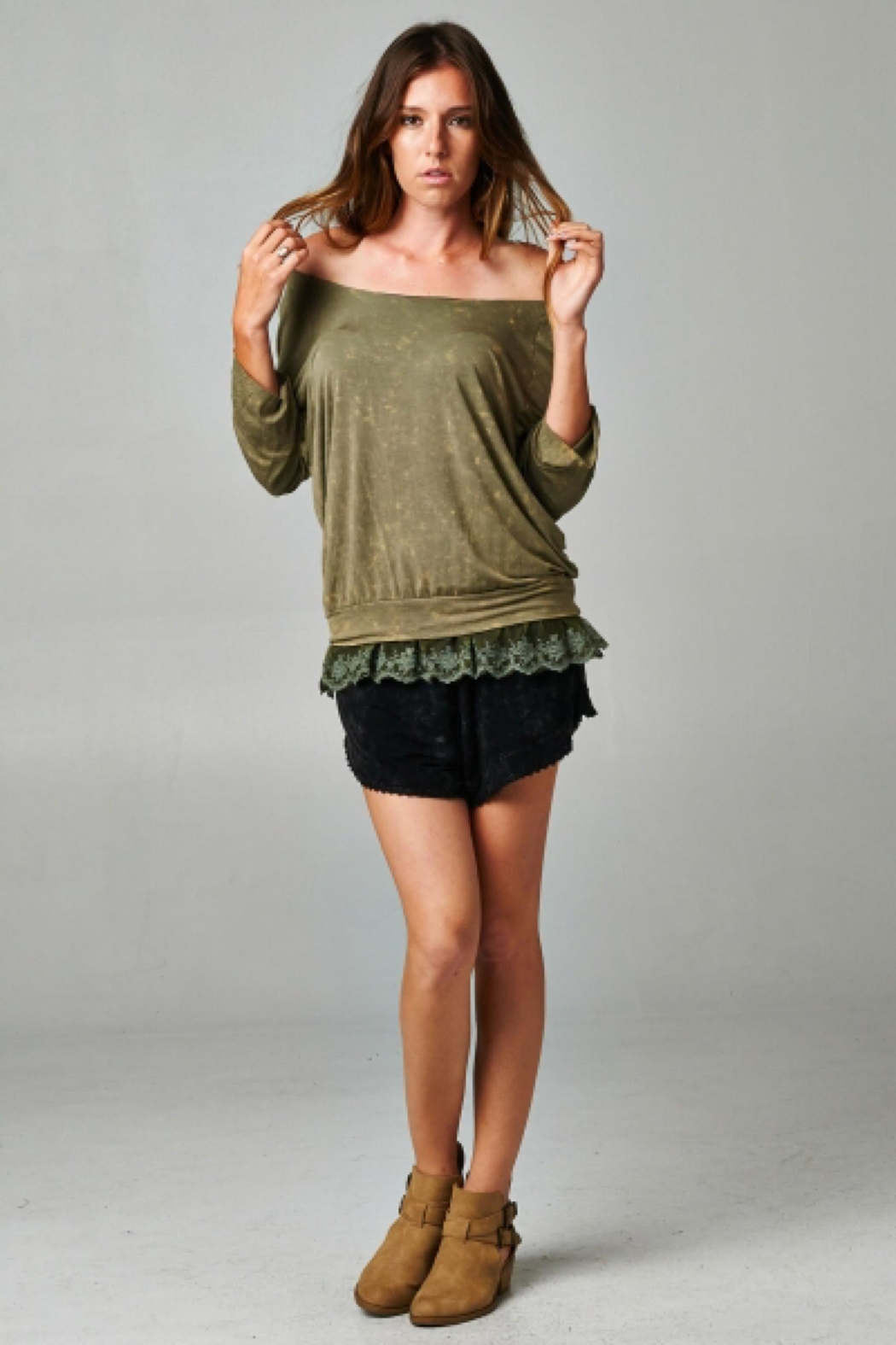 People Outfitter Olive Green Layered Look Top - Front Full Image
