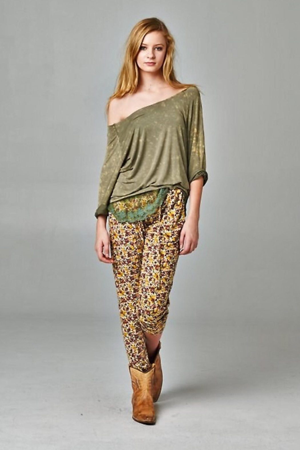 People Outfitter Olive Green Layered Look Top - Main Image