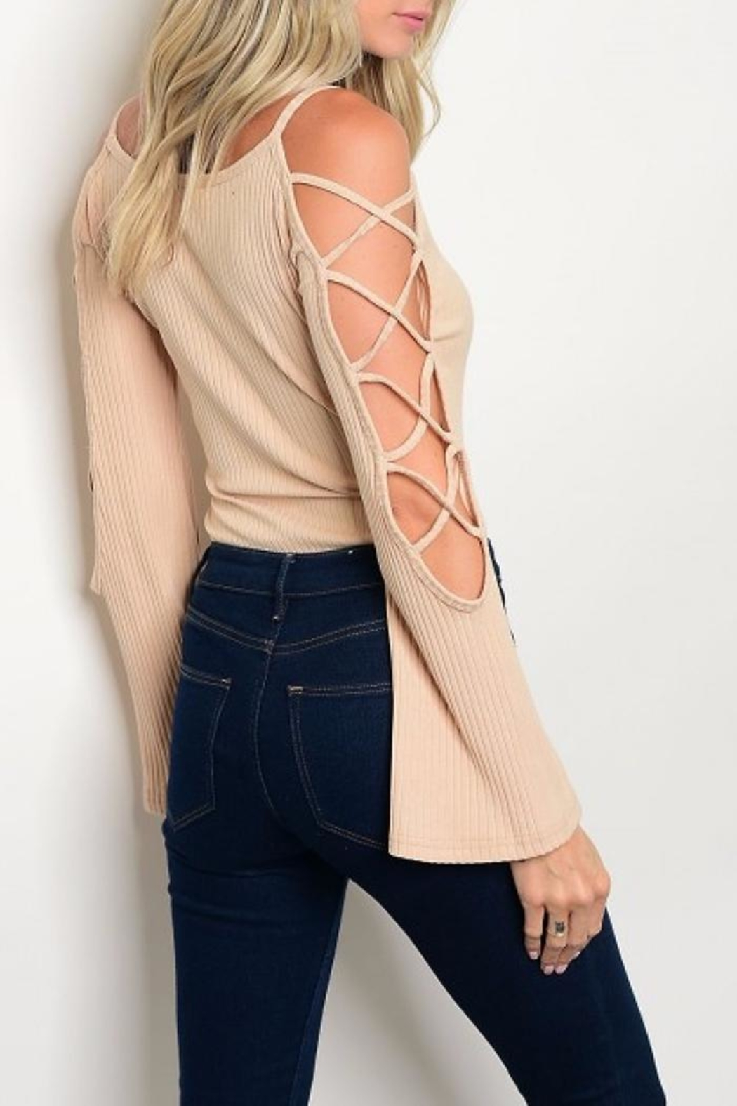 People Outfitter Open Shoulder Bodysuit - Front Full Image