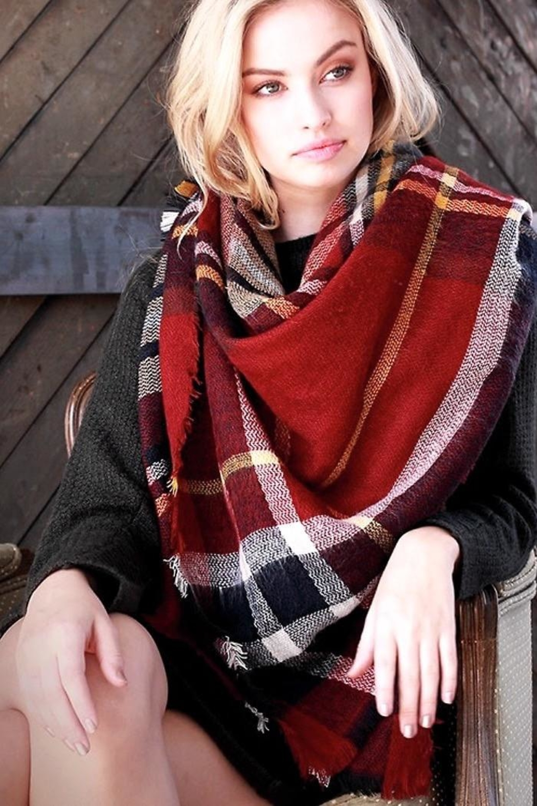 People Outfitter Oversized Brushed Plaid  Scarf - Main Image