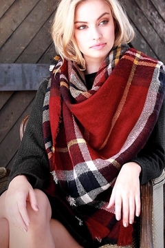 People Outfitter Oversized Brushed Plaid  Scarf - Product List Image