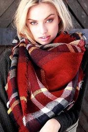 People Outfitter Oversized Brushed Plaid  Scarf - Front full body