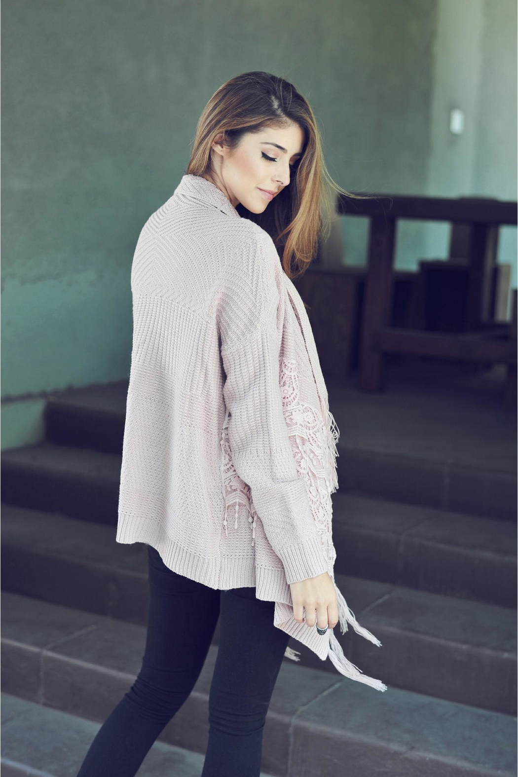 People Outfitter Pink Mauve Lace Fringe Cardigan - Side Cropped Image