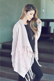 People Outfitter Pink Mauve Lace Fringe Cardigan - Front full body