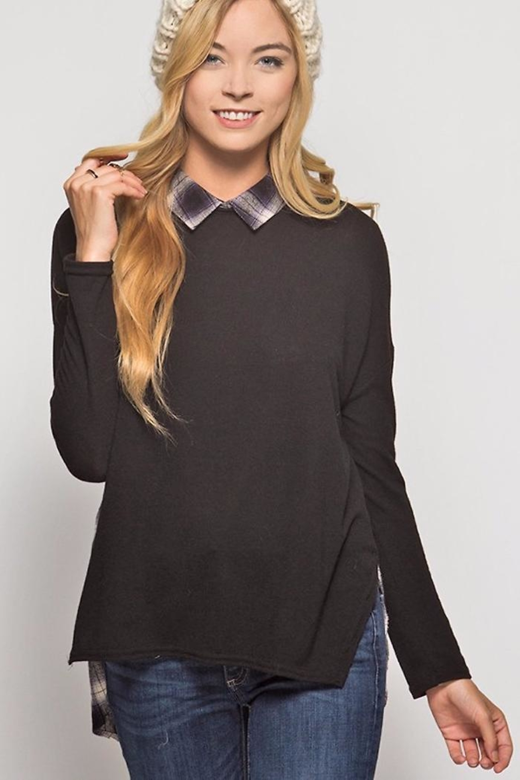 People Outfitter Plaid Knit Tunic - Main Image