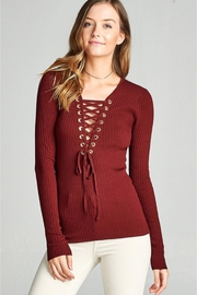 People Outfitter Red Lace Up Knit Top - Product Mini Image