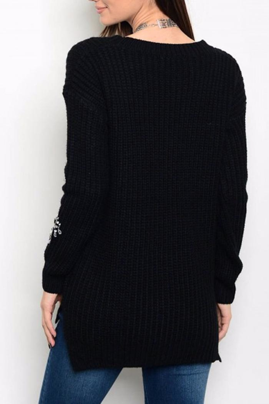 People Outfitter Rhinestone Sweater - Front Full Image