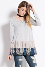 People Outfitter Ruffle Hem Tunic Top - Front full body