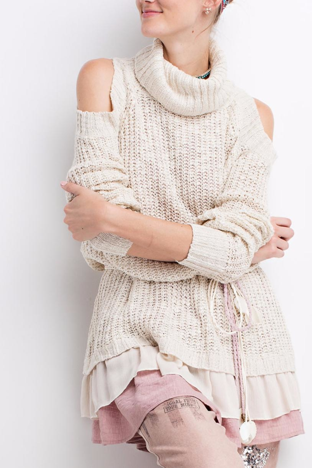 People Outfitter Ruffled Chunky Sweater - Side Cropped Image