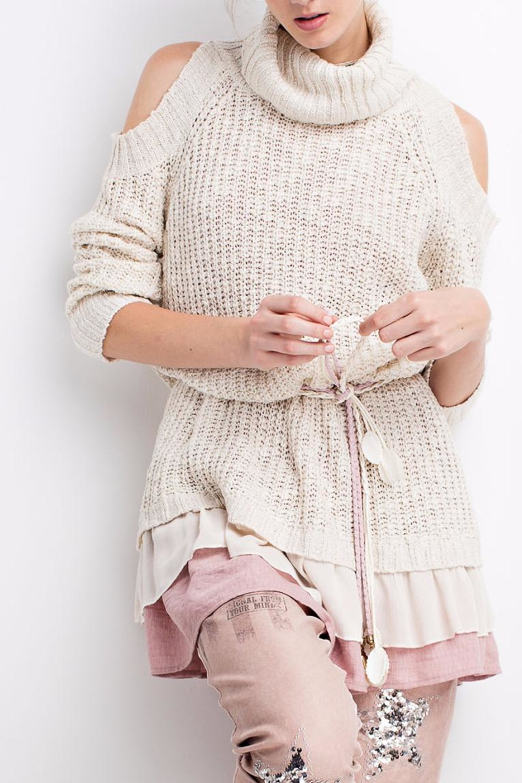 People Outfitter Ruffled Chunky Sweater - Main Image