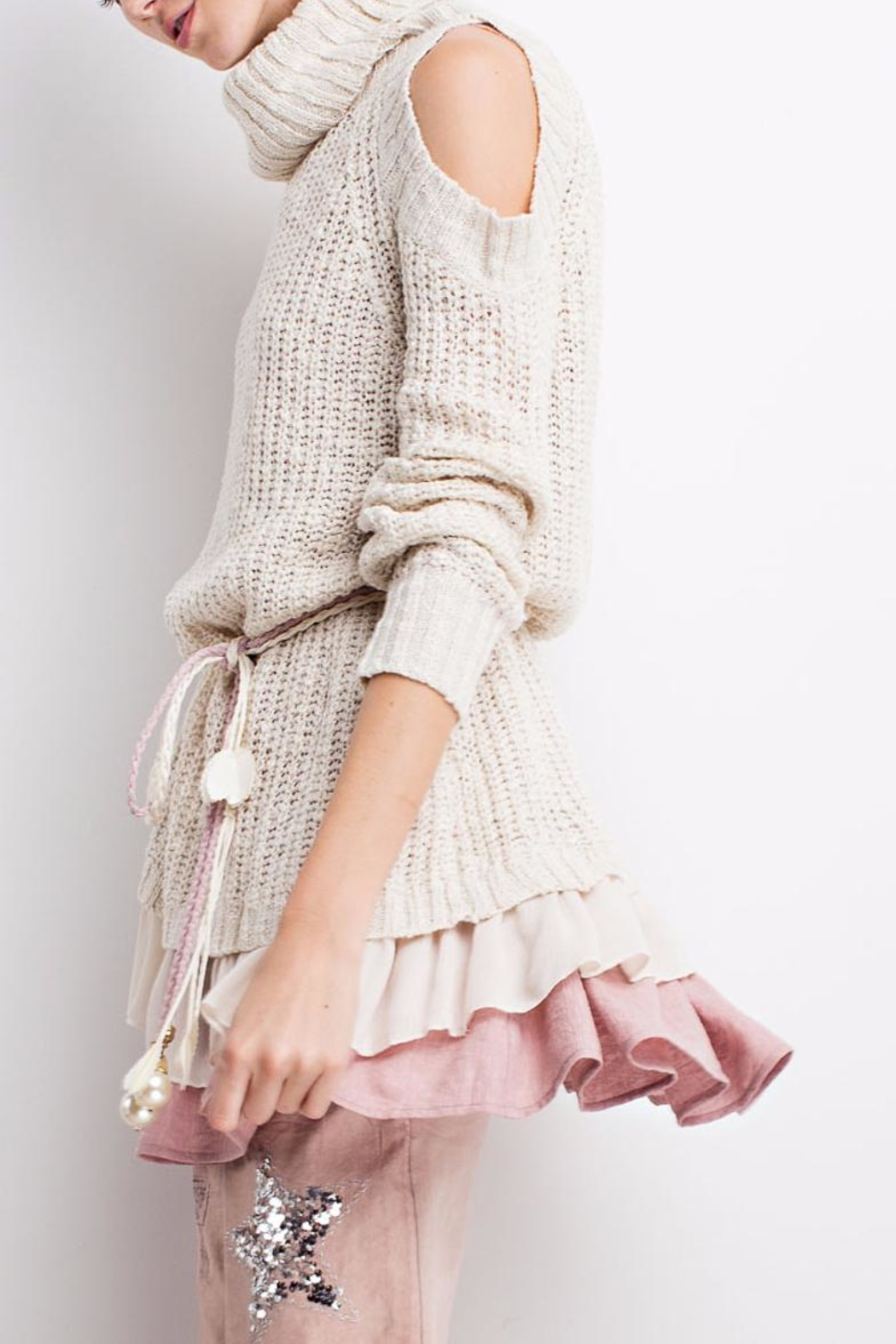 People Outfitter Ruffled Chunky Sweater - Front Full Image