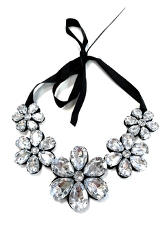 Shoptiques Product: Silver Crystal Beads Flower Bib Necklace