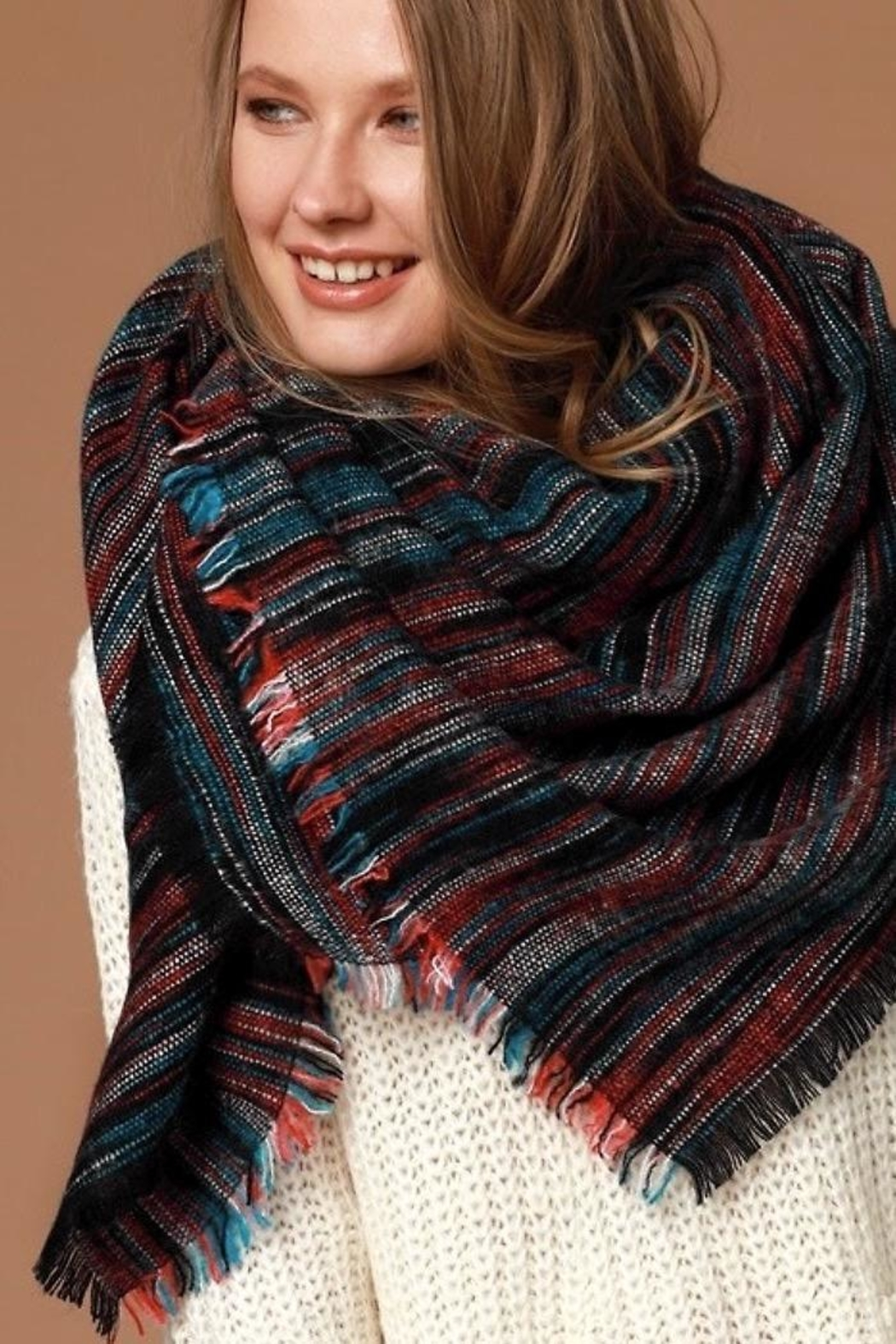 People Outfitter Striped Oversized Scarf - Main Image