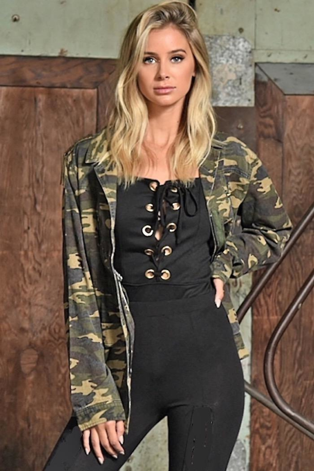 People Outfitter Studded Camouflage Jacket - Side Cropped Image