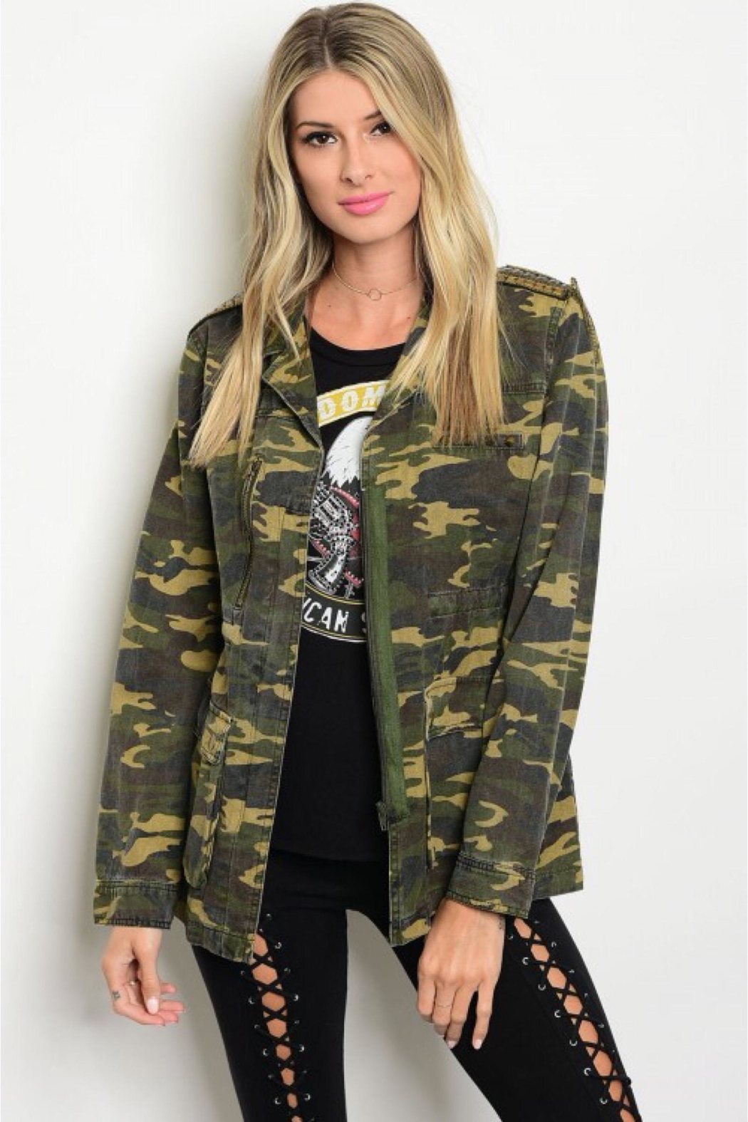 People Outfitter Studded Camouflage Jacket - Front Full Image