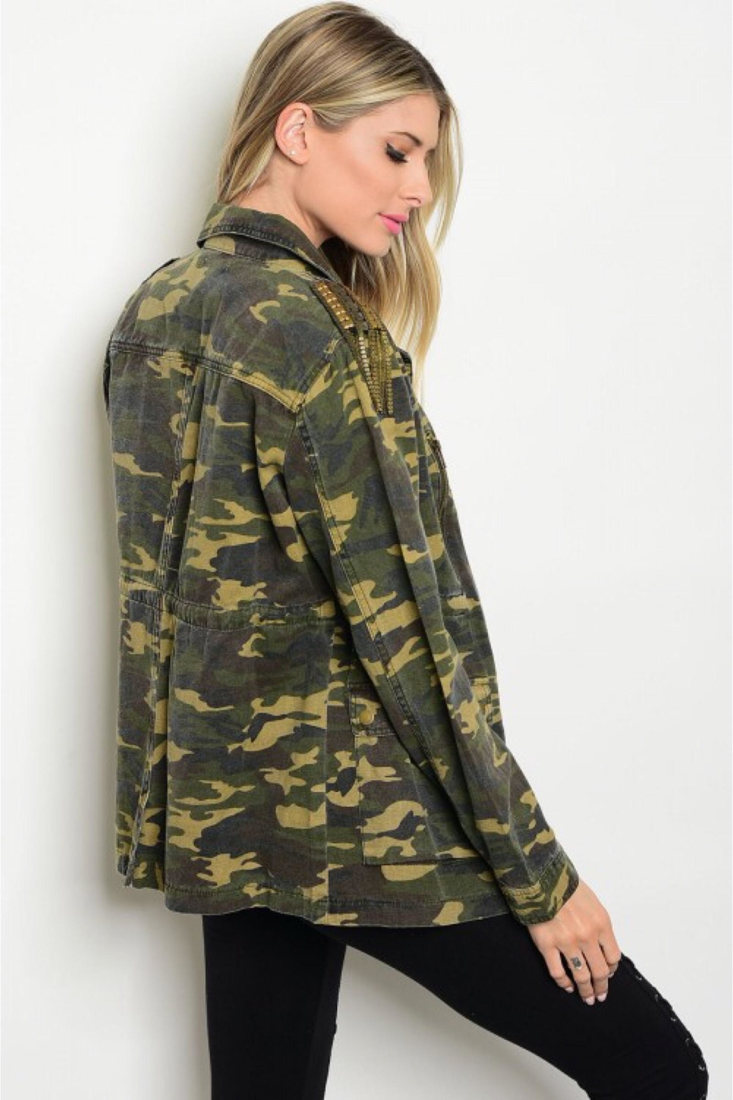 People Outfitter Studded Camouflage Jacket - Main Image