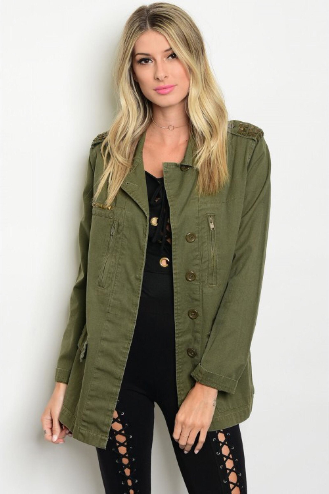 People Outfitter Studded Military Jacket - Front Full Image