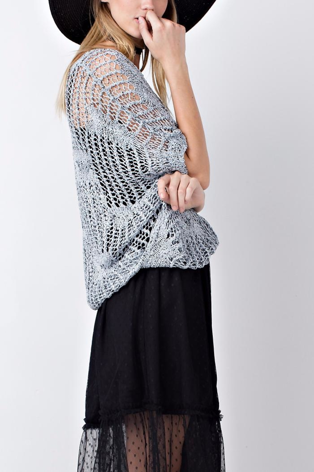 People Outfitter Sweater Crochet Top - Side Cropped Image