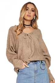 People Outfitter Tan Dolman Sleeves Sweater - Product Mini Image