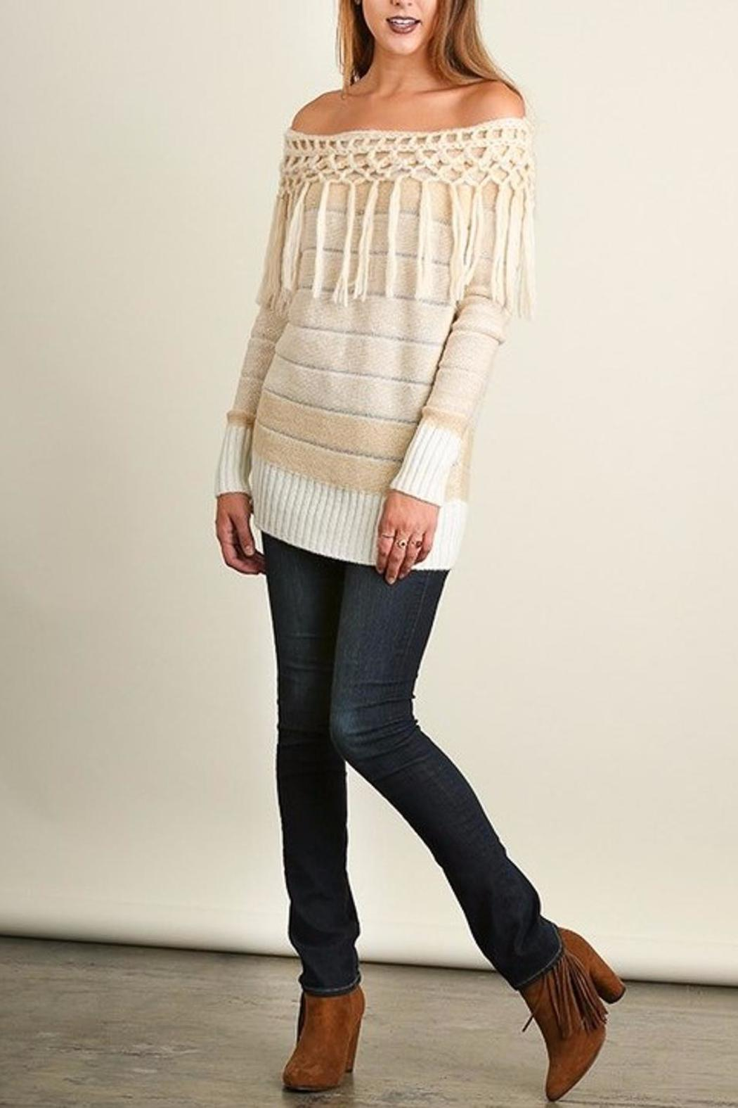 People Outfitter Tassels Tunic Sweater - Front Cropped Image