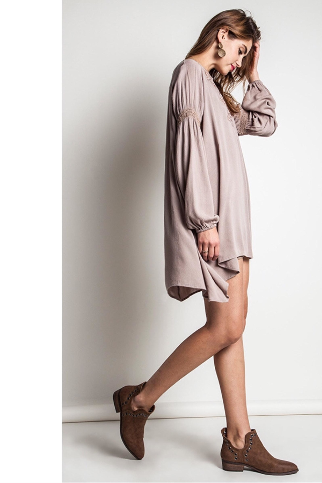 People Outfitter Taupe Bishop Sleeves Embroidery Tunic Dress - Front Full Image