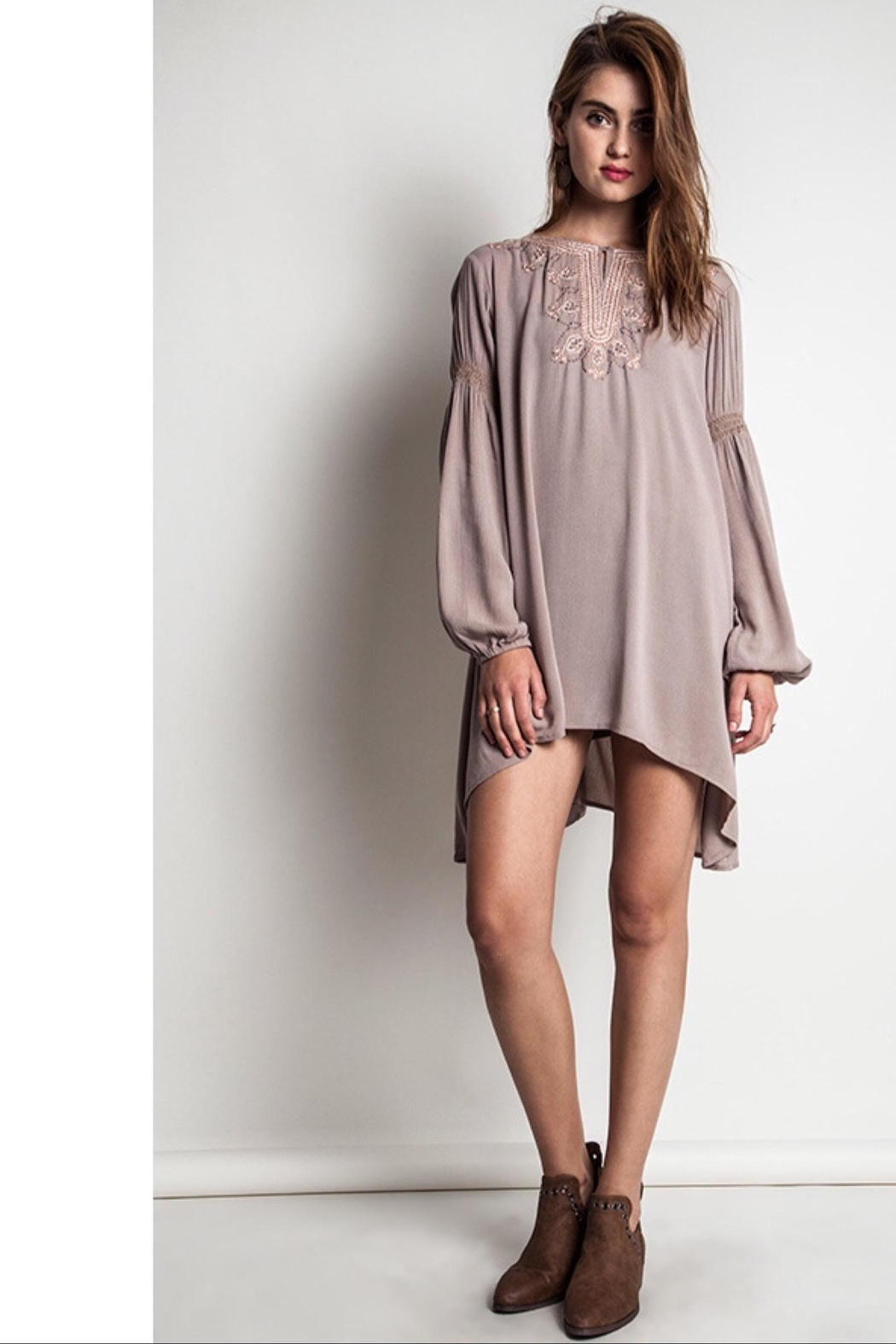 People Outfitter Taupe Bishop Sleeves Embroidery Tunic Dress - Front Cropped Image