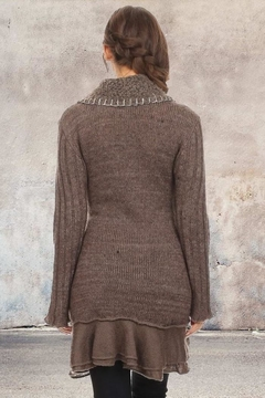 People Outfitter Taupe Bohemian Ruffled Wool Cardigan - Alternate List Image
