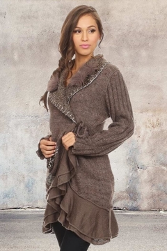 People Outfitter Taupe Bohemian Ruffled Wool Cardigan - Product List Image