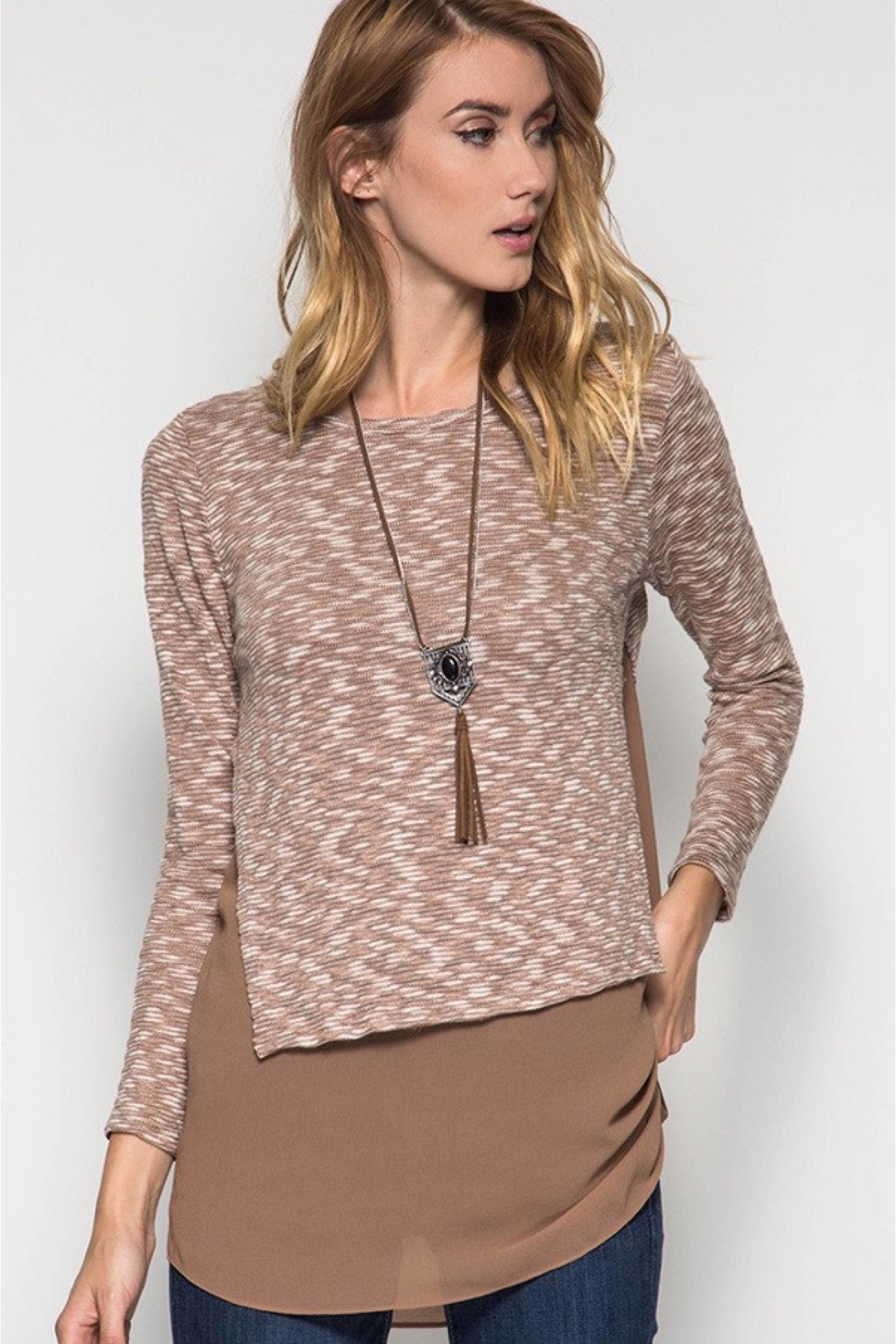 People Outfitter Taupe  Knit Tunic Top - Main Image