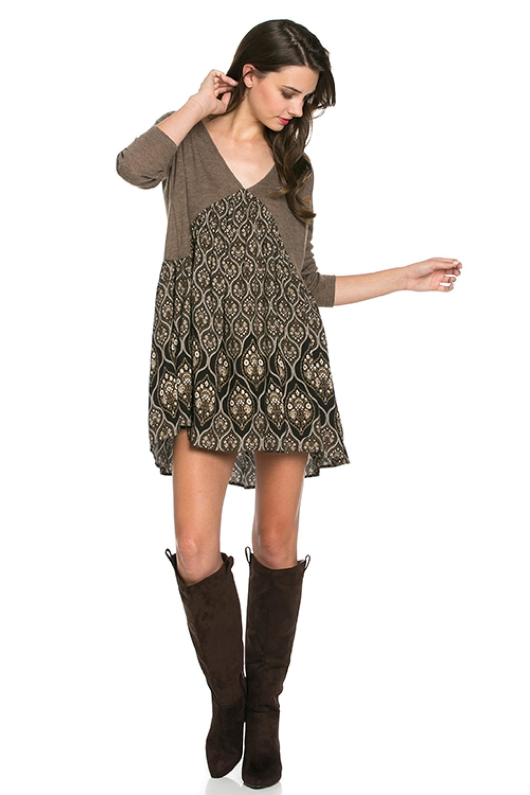 People Outfitter Taupe Tunic Dress - Front Full Image