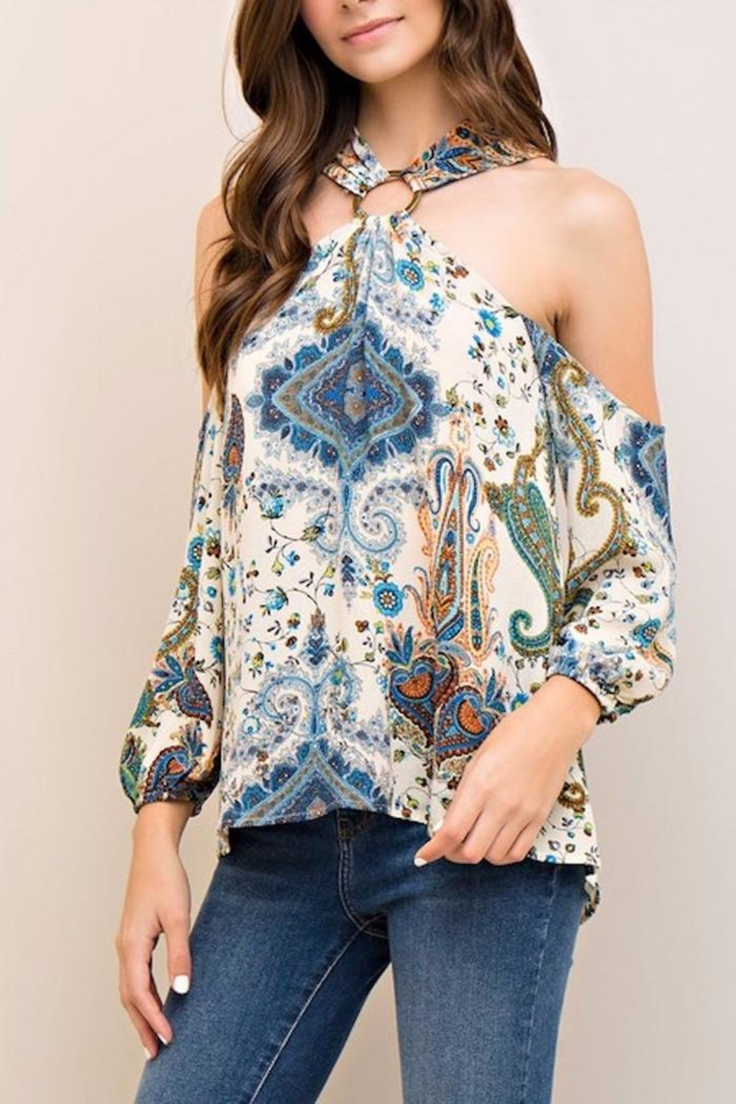 People Outfitter Limelight Paisley Top - Front Full Image