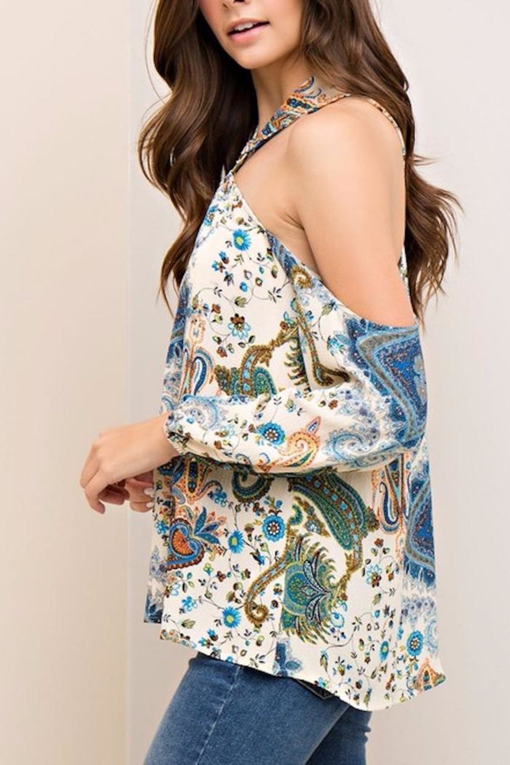 People Outfitter Limelight Paisley Top - Back Cropped Image