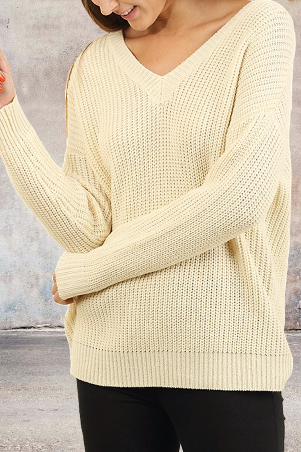 People Outfitter Tie Back Sweater - Front Full Image
