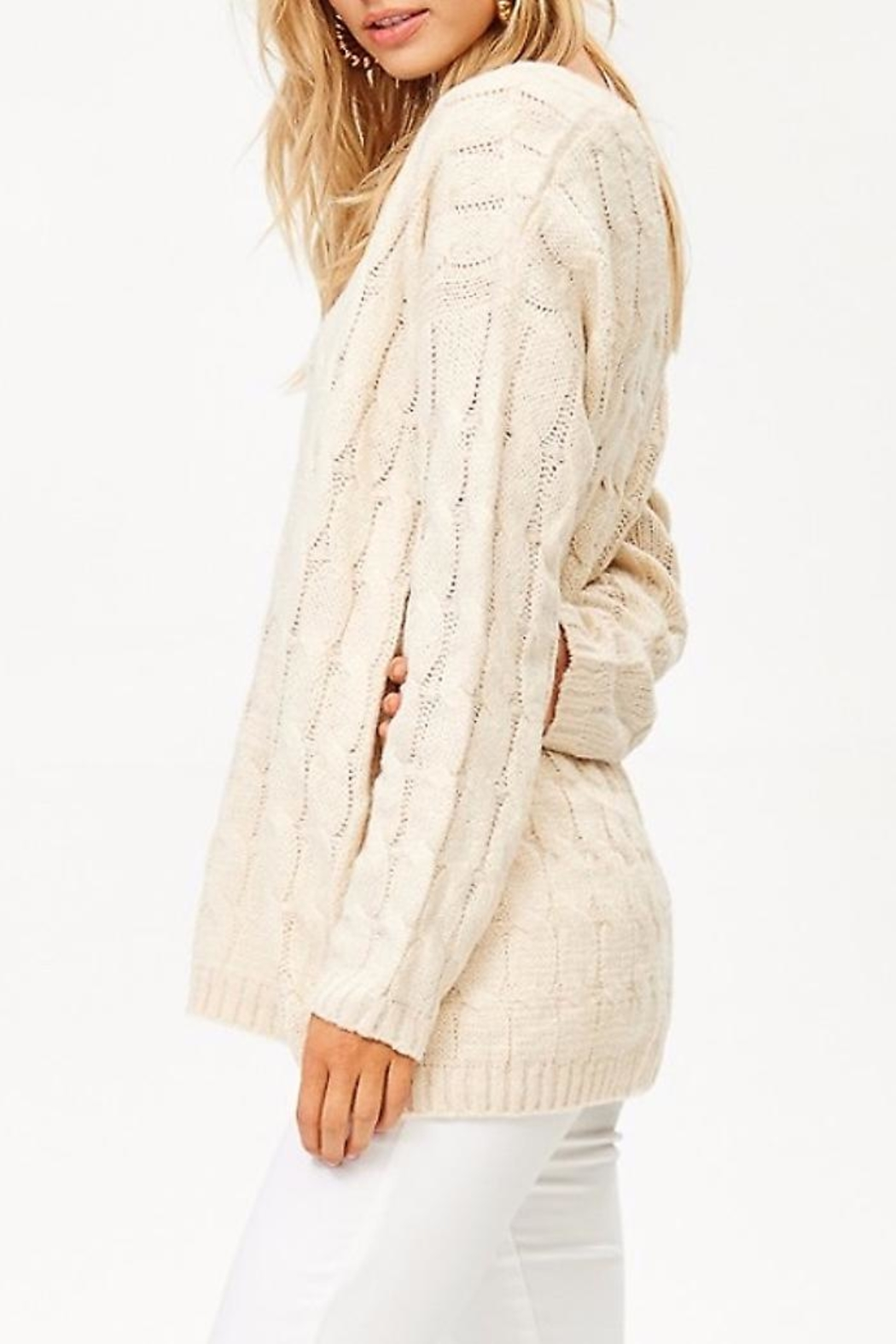 People Outfitter v-Neck Knit Sweater - Front Full Image
