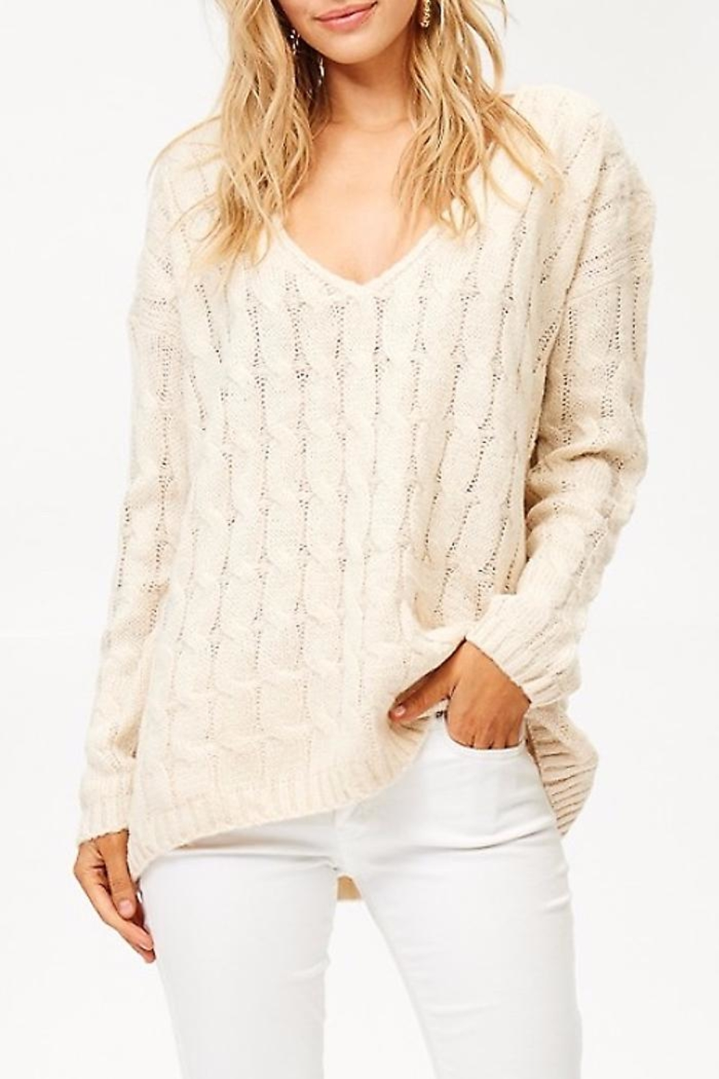 People Outfitter v-Neck Knit Sweater - Side Cropped Image