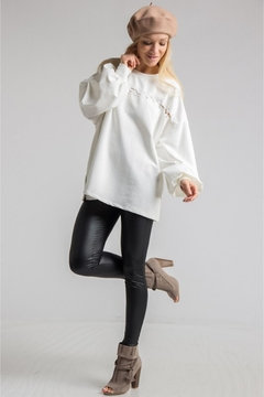 People Outfitter White Bishop Sleeves Tunic Top - Alternate List Image